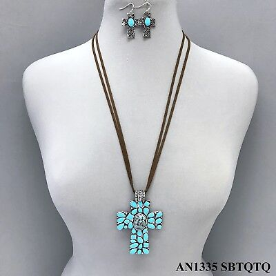 Brown Faux Leather Stands Turquoise Bead Cross Metal Pendant Necklace & (Brown Turquoise Pendant)
