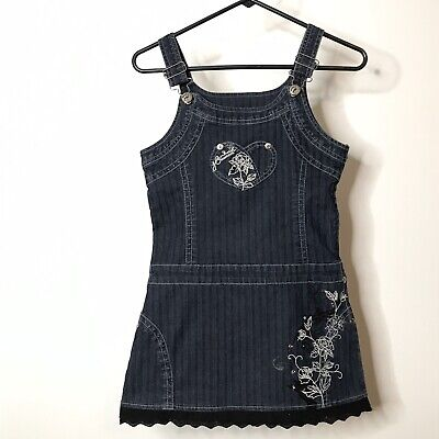 Hannah Montana Girls Denim Dress 12 Embroidered Roses Sequins Rhinestones Lace Hannah Montana Clothes