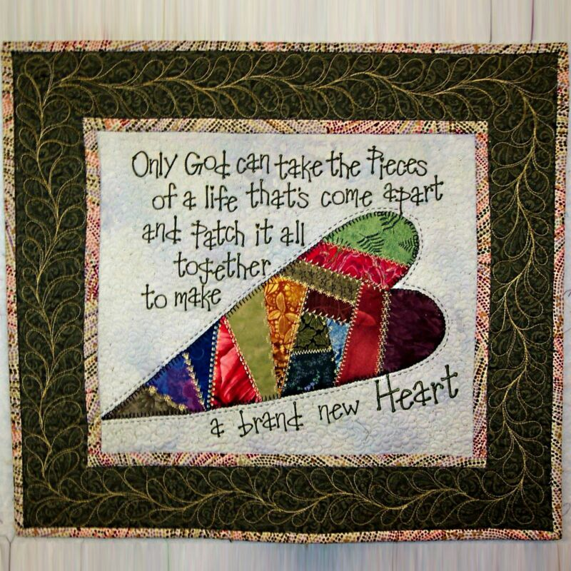 "Quilted Wall Hanging / Table Mat with Words of Comfort Green 18"" x 20"" _AL-068"