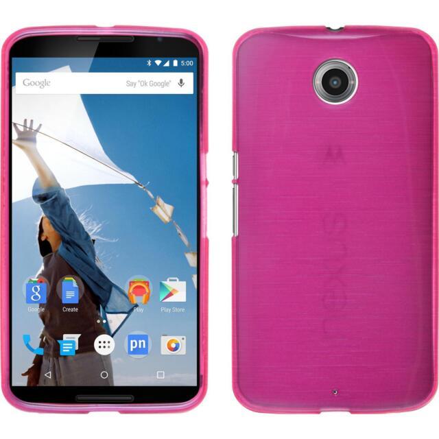 Silicone Case Google Nexus 6 - brushed hot pink + protective foils
