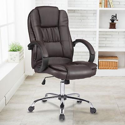 Leder Computer Schreibtisch Stuhl (Modern Bürostuhl Drehstuhl Chefsessel Schreibtischstuhl Computerstuhl Braun)