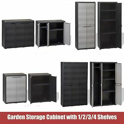Garden Storage Cabinet Cupboard Outdoor Tool Chest Lockers Shed&1/2/3/4 Shelves
