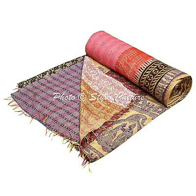 Indian Quilt Blanket Queen Art Silk Reversible Kantha Bed Cover Printed  Quilts