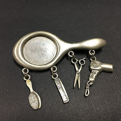 Vtg Hand Mirror Brooch Pin By  Jj  Brush Comb Scissors Dryer Pewter Silver Dd42e