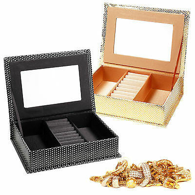 - Jewellery Trinkets Display Box Travel Case Portable Organiser Gift Set + Mirror