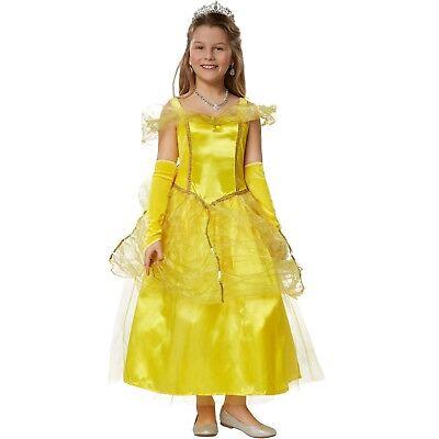 Mädchenkostüm Prinzessin Belle Kleid Gelb Film Königin Cosplay Karneval Party ()