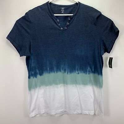 Split-neck T-shirt (INC International Concepts Mens Split-Neck Dip Dyed T-Shirt Blue 2XL)