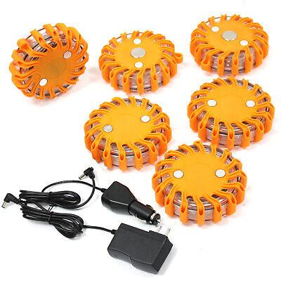 Lot 6 Rechargable LED Safety Flare Emergency Warning Disc Light Roadside Beacon