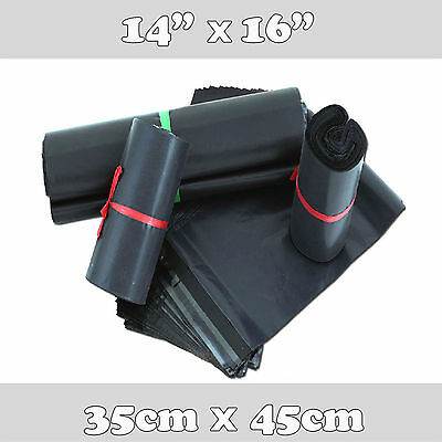 10 Strong Black Plastic Mailing Postal Poly Postage Packing Bags 14x16 35x45cm