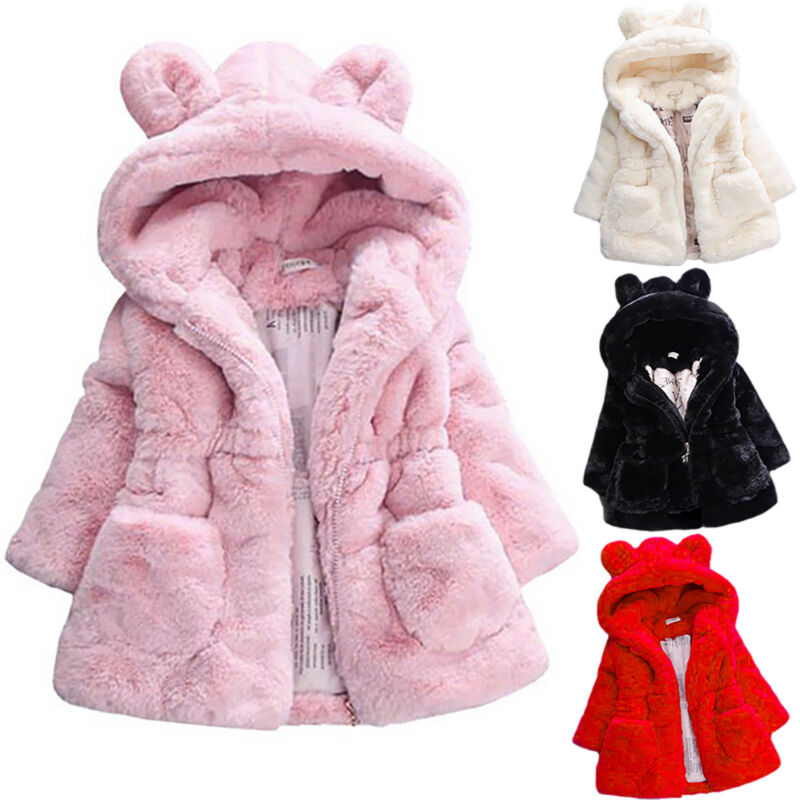 Toddler Kids Girls Winter Warm Coat Faux Fur Hooded Outerwea