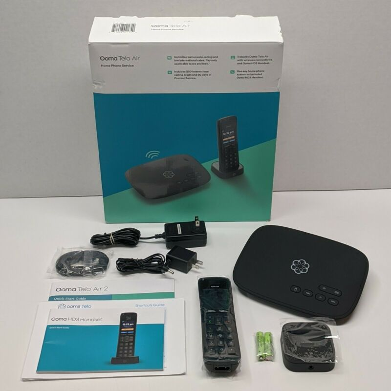 Nice In Box Ooma Telo Air 2 W/ Ooma HD3 Cordless Handset Internet Phone Service
