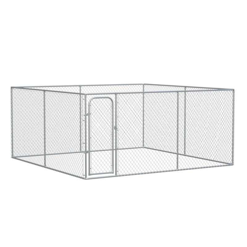 Outdoor Dog Kennel Galvanized Chain Link Fence Pet House w/ Secure Lock