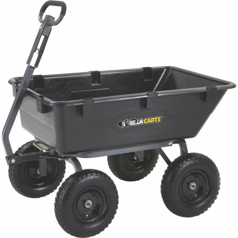 Gorilla Carts Heavy-Duty Poly Yard Garden Outdoor Dumping Cart Wheel Barrow