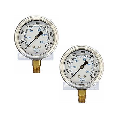 2 Pack Liquid Filled Pressure Gauge 0-15000 Psi 2.5 Face 14 Npt Lower Mount