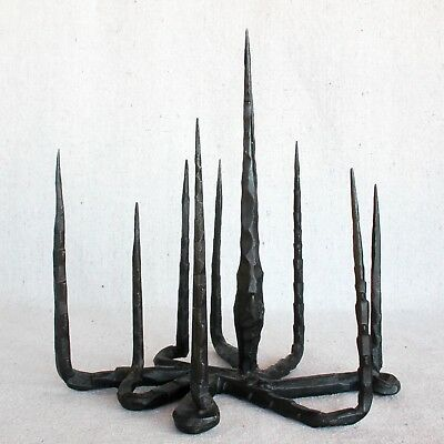 David Palombo Brutalist Iron Menorah Candelabra Mid Century Israeli Modernist