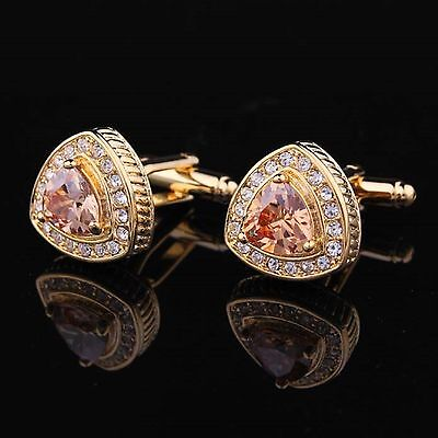 Royal Gold Silver Mens Wedding Party Gift Shirt Crystal Cufflinks Cuff Links