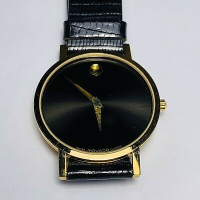 Men's Gold  Movado Sapphire Crystal Museum Wrist Watch Movado Sapphire Wrist Watch