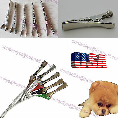 5pcs Metal Clip Veterinary Ecg Electrode Flat Clamp Snap Connection To Ecg Cable