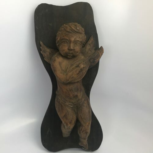 Antique 17th-18th ? Century Carved Wood Cherub Or Angel