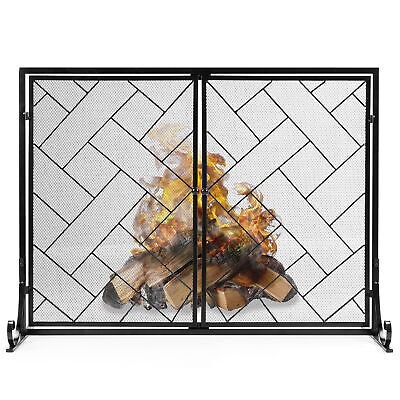 BCP 44x33in 2-Panel Wrought Iron Geometric Fireplace Screen w/ Magnetic