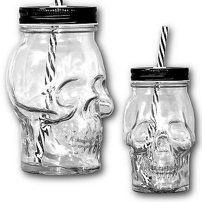 4x Große Totenkopf Trinkgläser mit Deckel und Strohhalm, Glas Becher Trinkhalm