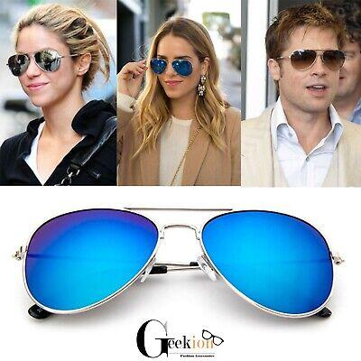 Polarized Sunglasses Aviator Men Women Vintage Color Mirrored Shades Metal (Colored Aviators)