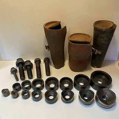 Vtg Greenlee No 735 Knockout Punch Die Set 12 - 2 With Leather Rolls