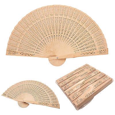 12 pcs Chinese Sandalwood Style Wooden Hand Fans Bridal Favor Wedding Decor