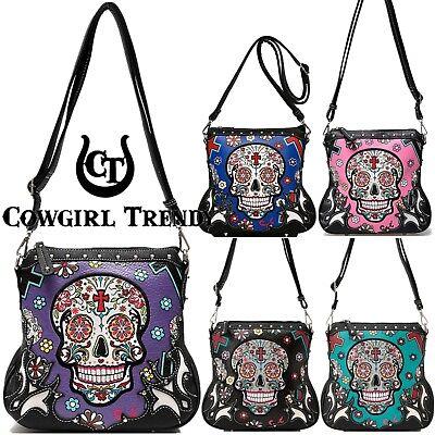 Day of the Dead Cross Body Handbags Women Purse Sugar Skull Single Shoulder Bags (Day Of The Dead Purse)