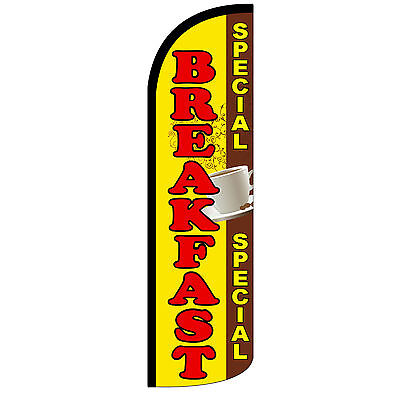 Breakfast Special Windless Swooper Feather Flag Tall Banner Sign 3 Wide Red