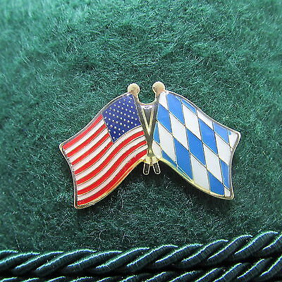 Bavarian-American Flag Oktoberfest Hat Pin - Octoberfest Hat