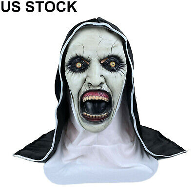 The Scary Open Mouth Nun Latex Mask w/Headscarf Horror Cosplay Halloween Costume