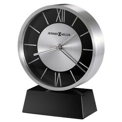 New Howard Miller Modern Contemporary Davis Silver Mantel Desk Table Clock