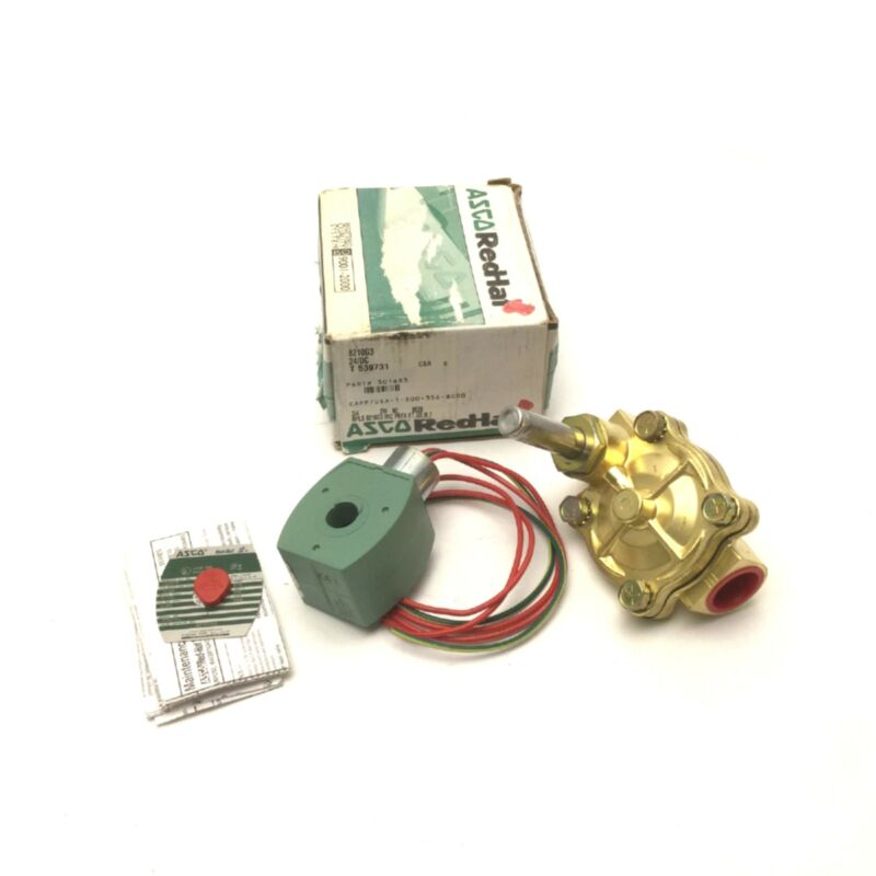 "ASCO RedHat 8210G003 General Service Brass Solenoid Valve 24VDC 3/4"" NPT 125psi"