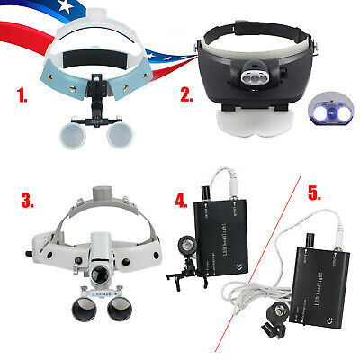 U Headband Dental Surgical Binocular Loupes Glass Magnifier 3.5-r Led Head Light