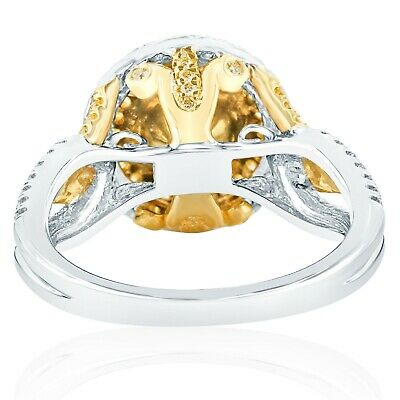 GIA Certified 1.59 Ct Yellow VS1 Round Diamond Engagement Ring 18k White Gold 2