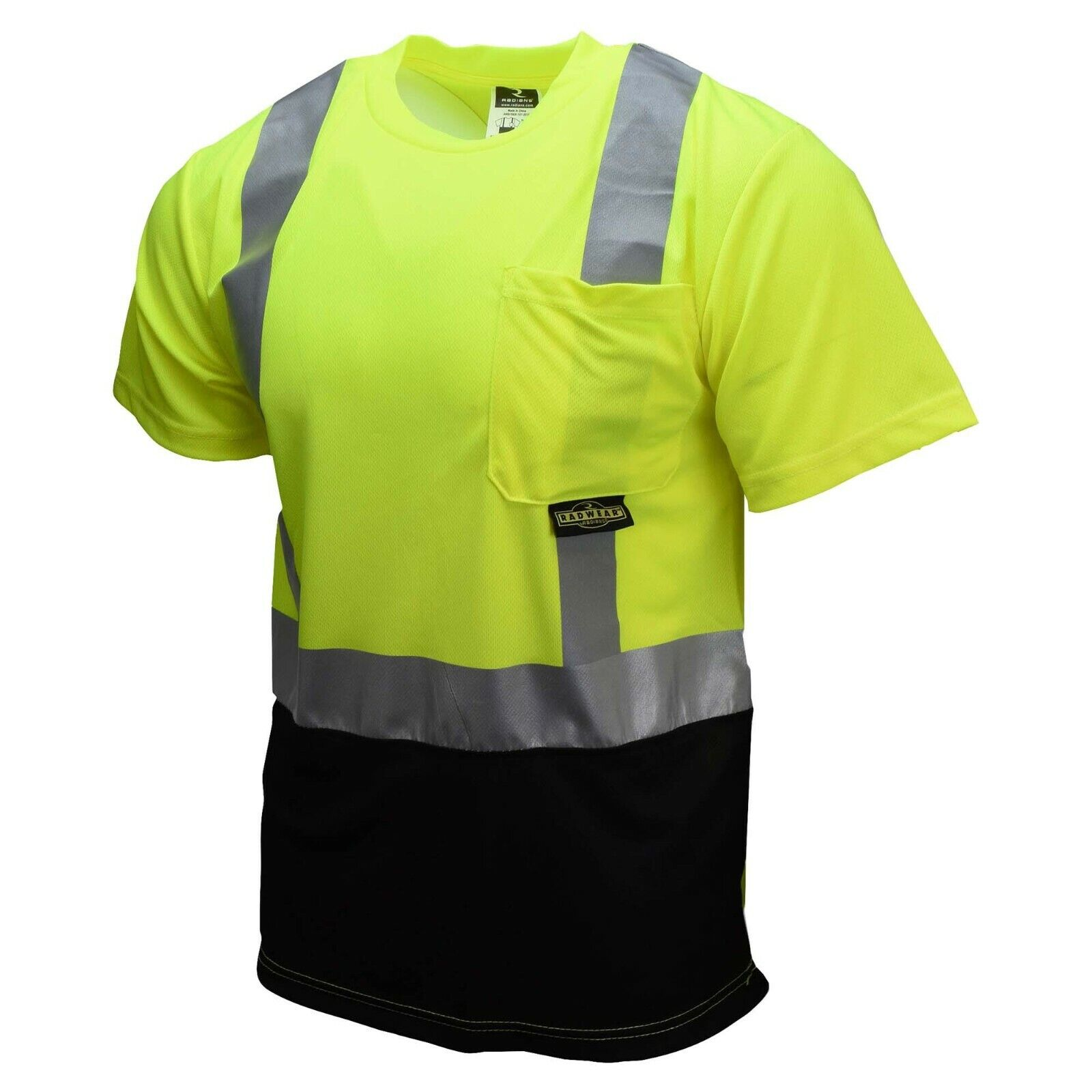 Radians ST11B-2PGS Lime Green Class 2 Black Bottom Wicking Mesh Safety T-Shirt Business & Industrial