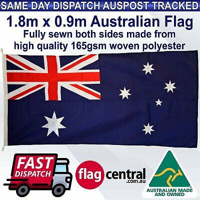 Australian Flag Fully Sewn 1.8m x 0.9m Made In QLD *High Quality *Heavy Duty