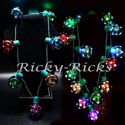 Light Up Christmas Jingle Necklace LED Holiday Large Chunky Bulb Santa Flashing (Light Up Christmas Bulb Necklace)