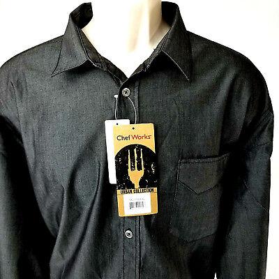 Chef Works Urban Collection Culinary Arts Detroit Long Sleeve Denim Shirt Black