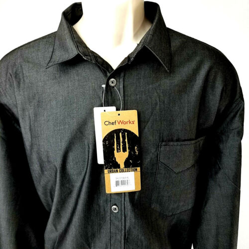 Chef Works Urban Collection Culinary Arts Detroit Long Sleeve Denim Shirt Black