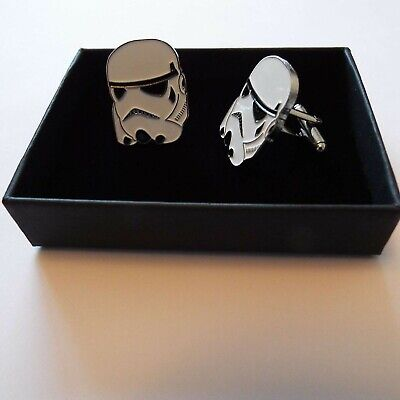 Pair of Stylish Star Wars Storm Trooper Cufflinks in gift box