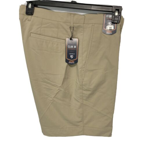"""Cremieux Mens Performance Deck Shorts 42 Flat Front Golf Stretch Twill Khaki 8"""" Clothing, Shoes & Accessories"""