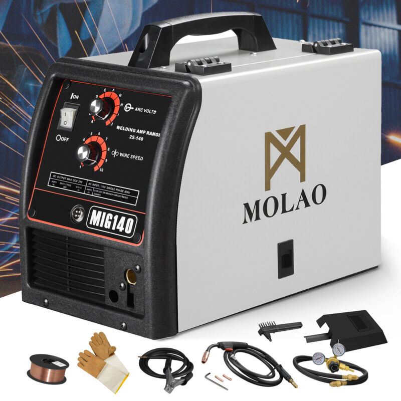 140 MIG Welder Wire-Feed 115V Welding Machine with Free Gloves Mask Brush