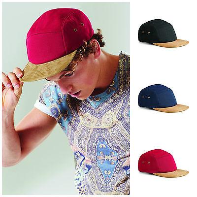 5 Panel Retro Vintage Sports Baseball Cap Hat 100% Cotton Faux Suede Suade Peak Cotton Suede Cap