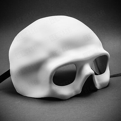 NEW Scary Skull Mask for Halloween Venetian Masquerade Half Face - White