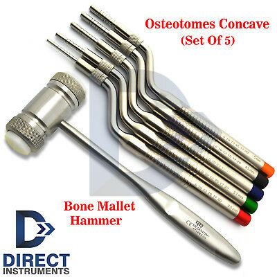Dental Osteotome Offset Concave Tip Sinus Lift Implant Graft Bone Mallet Hammer