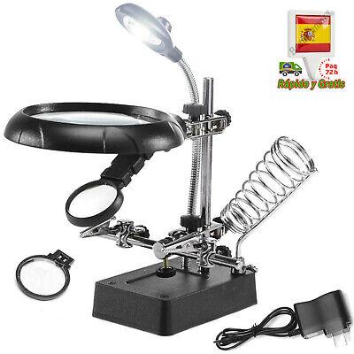 Lupa Luz LED Soporte para Soldar Y Pinzas Precisión Electronica Relojero Joyero