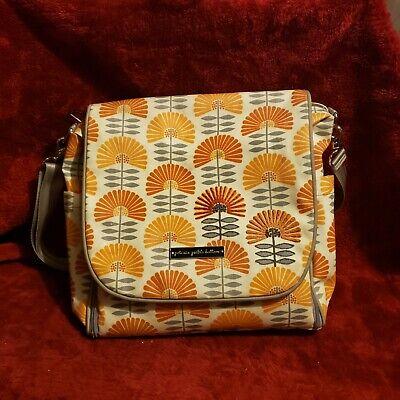 Petunia Pickle Bottom Diaper Bag Backpack Cross Body Peach Grey Flowers