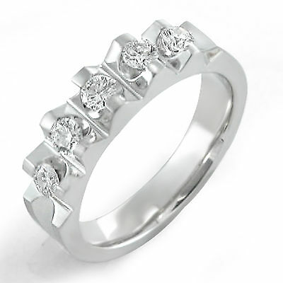 0.75 Ct Round Diamond Wedding Tension Set G VS2 Ring Band 14k White Gold 6 mm